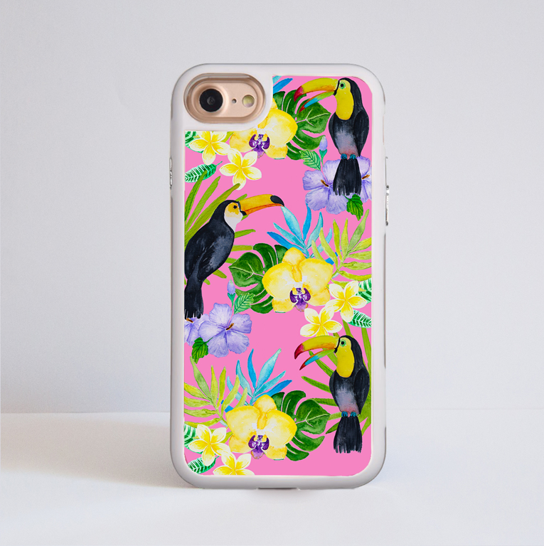 Toucan Birds Pink Phone Case | Available at www.dessi-designs.com