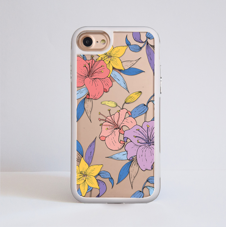 Purple Flowers Clear Impact Phone Case | Available at www.dessi-desings.com