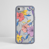 Purple Flowers Clear Impact Phone Case Grey Frame | Available at www.dessi-desings.com