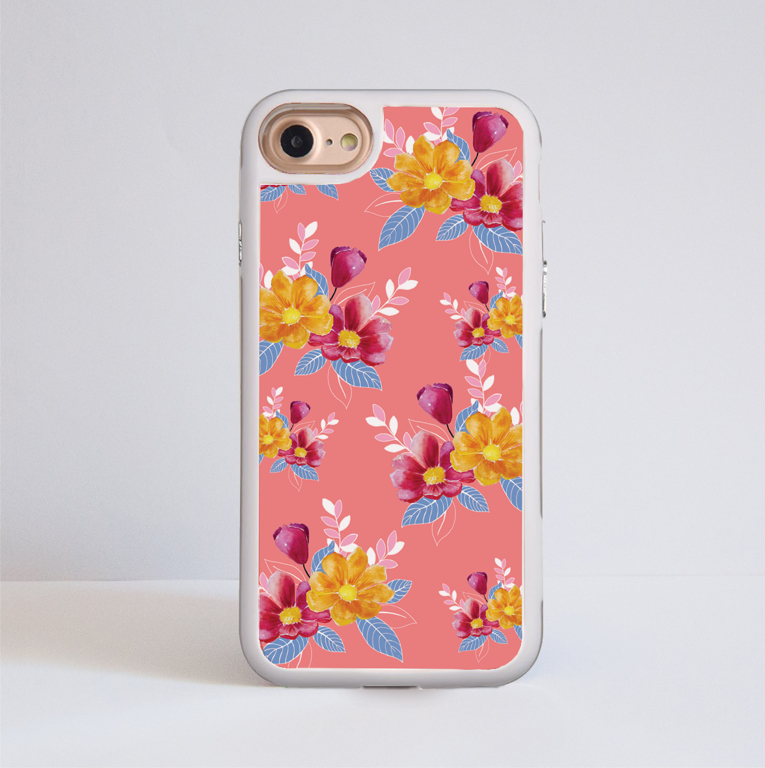 Pink Florals Impact Case White Frame | Available at www.dessi-designs.com
