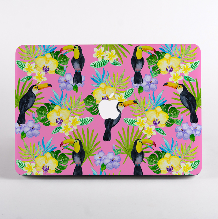 Toucan Birds Pink MacBook Case | Available at www.dessi-designs.com