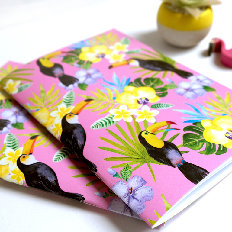 Toucan Birds A5 Notebook | available at www.dessi-designs.com