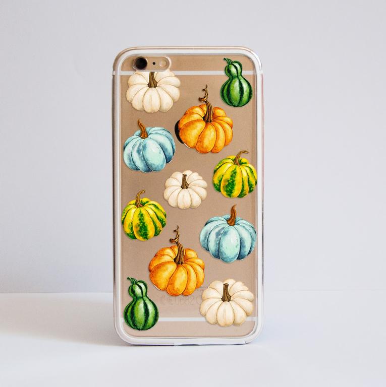 Watercolour Pumpkins Clear Bumper Phone Case - available at www.dessi-designs.com