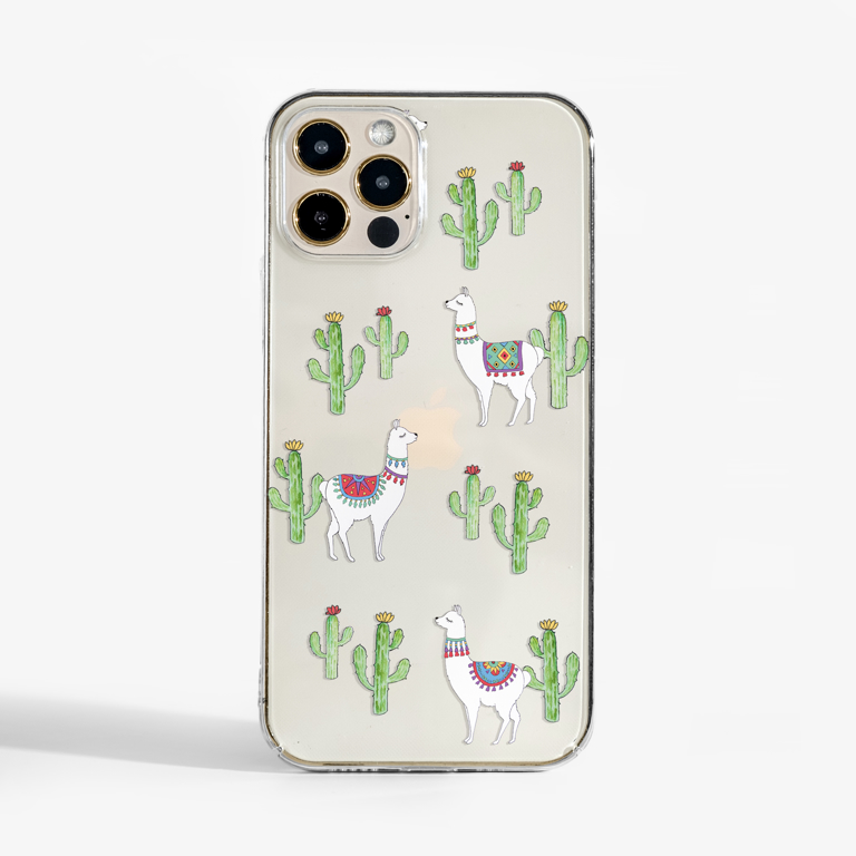 Clear Llama Gold Slimline Phone Case Front | Available at Dessi-Designs.com