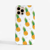 White Pineapple Pattern Slimline 1Phone 12 Case Front | Available at Dessi-Designs.com