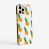 White Pineapple Pattern Slimline 1Phone 12 Case Side | Available at Dessi-Designs.com