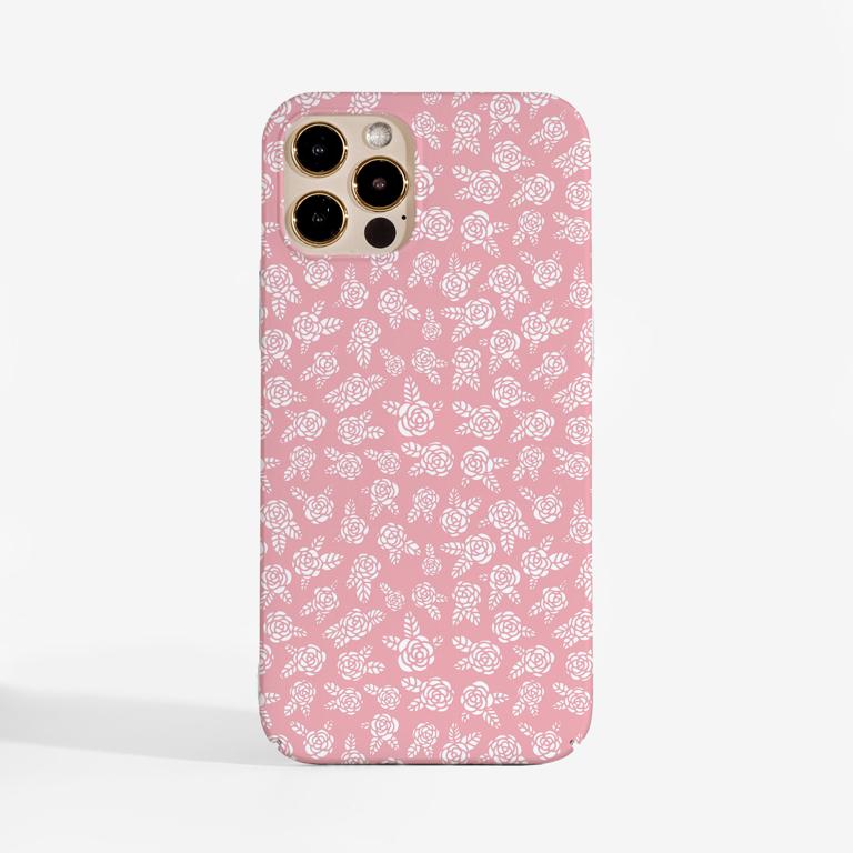 Pink Rosy Rose Slimline Phone Case Front | Available at Dessi-Designs.com