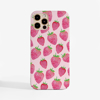 Pink Strawberries Slimline Phone Case Front | Available at Dessi-Designs.com