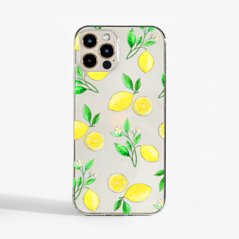 Clear Lemons Slimline Phone Case Front | Available at Dessi-Designs.com