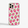 Clear Strawberries Slimline Phone Case Front | Available at Dessi-Designs.com