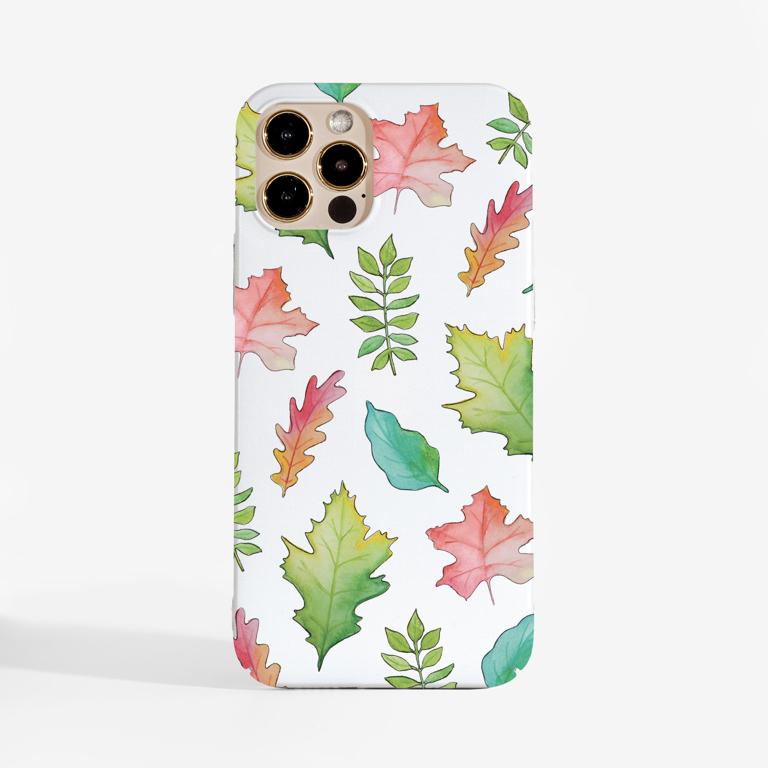White Fall Leaves Slimline Phone Case Front | Available at Dessi-Designs.com