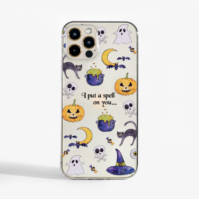 Clear Halloween Slimline Phone Case Phone Front | Available at Dessi-Designs.com
