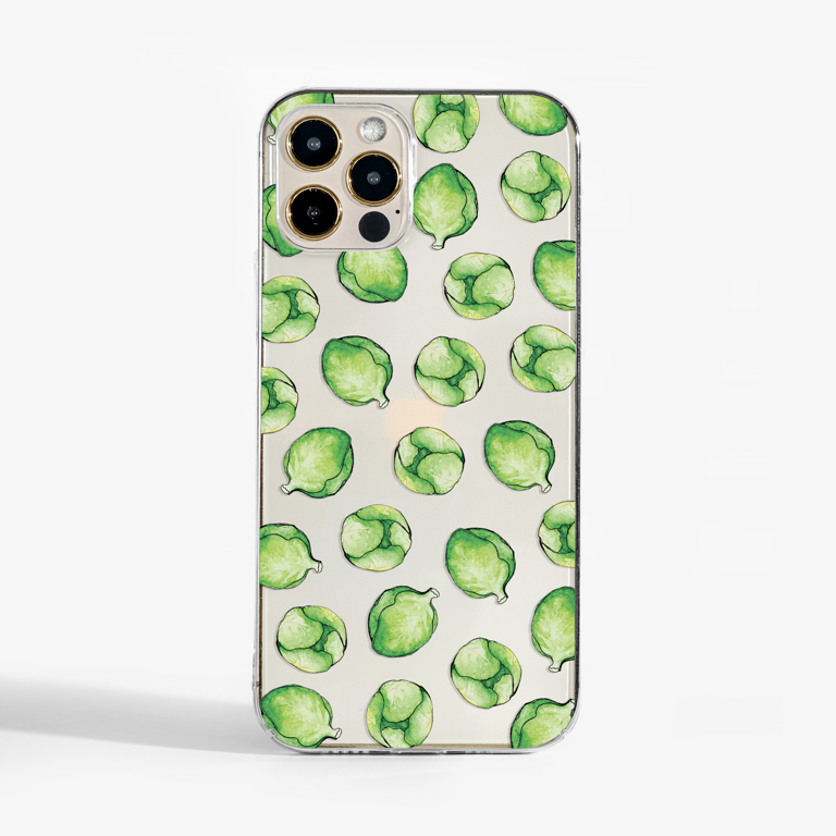 Brussels Sprouts Clear Slimline Phone Case Front | Available at Dessi-Designs.com