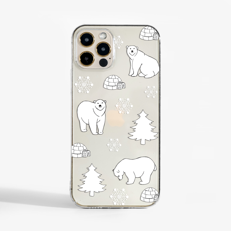 Clear Polar Bears Slimline Phone Case Front | Available at Dessi-Designs.com