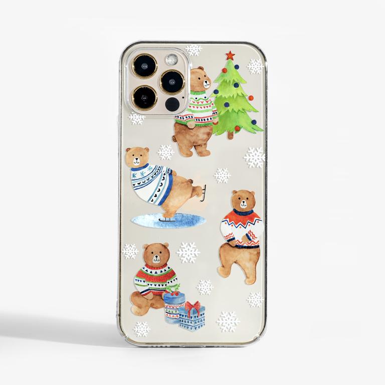 Winter bears clear phone case