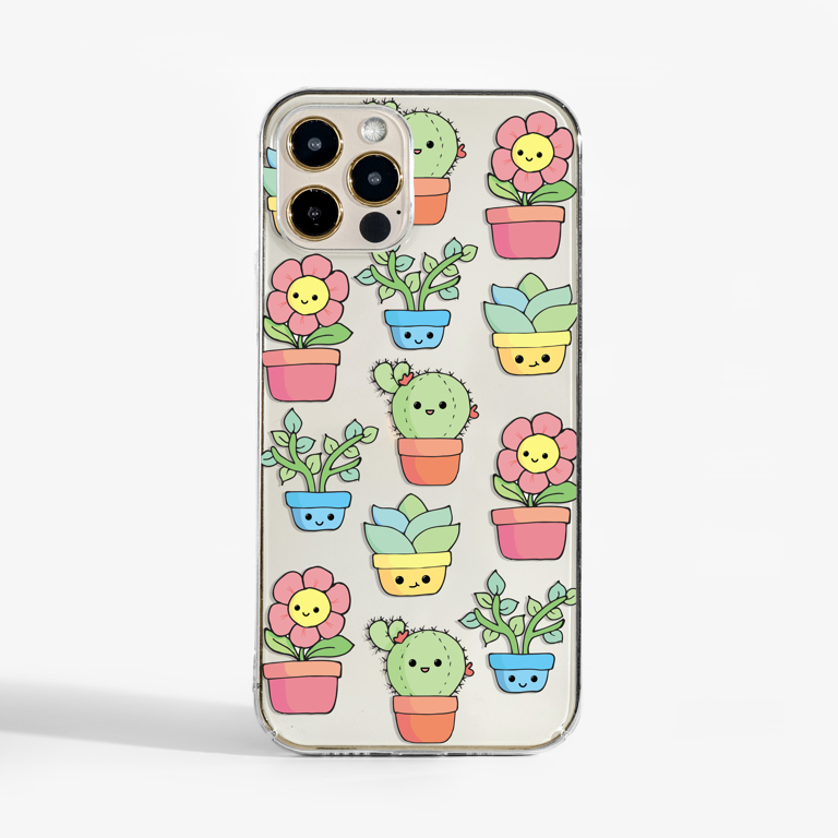 Cute Plants Clear Slimline Case | Available at www.dessi-designs.com