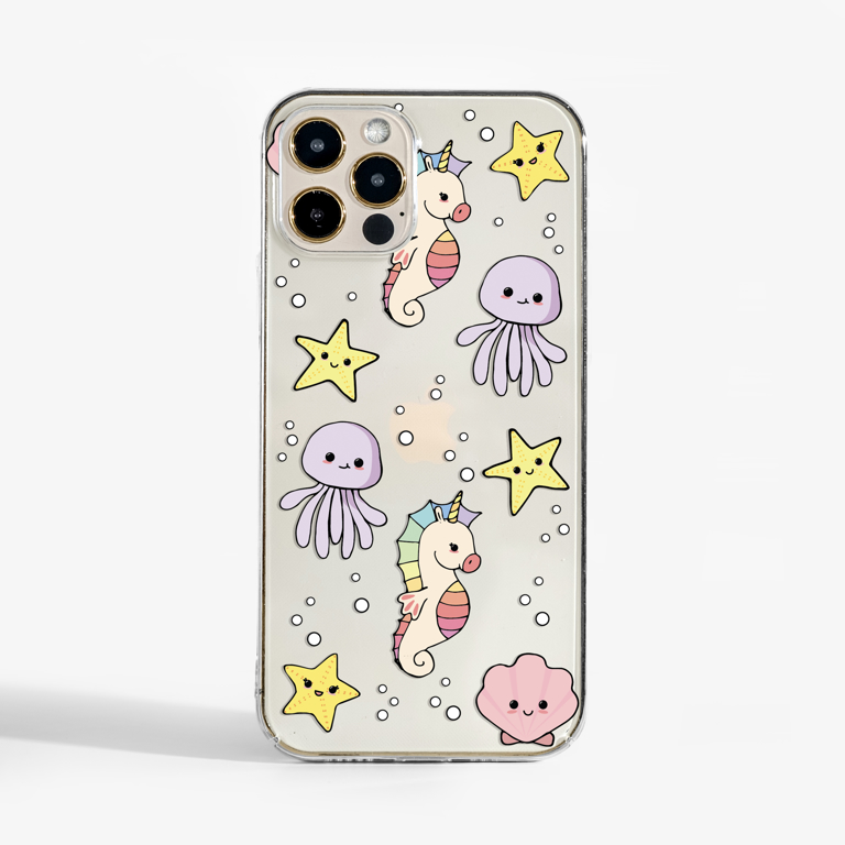 Cute Sea Creatures Clear Phone Case | Available at www.dessi-designs.com