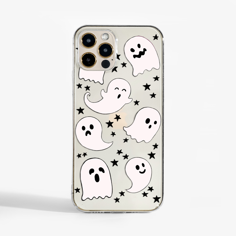 Halloween Ghosts Clear Phone Case by Dessi Designs. Available at www.dessi-designs.com