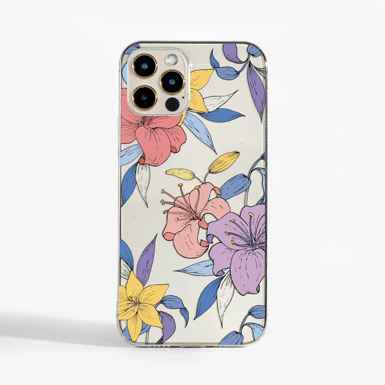 Purple Flowers Clear Phone Case | Available at www.dessi-designs.com