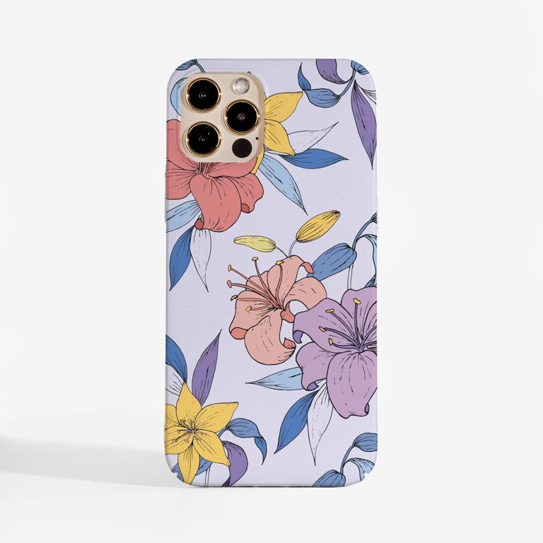 Purple Florals Slimline Phone Case Front | Available at www.dessi-designs.com