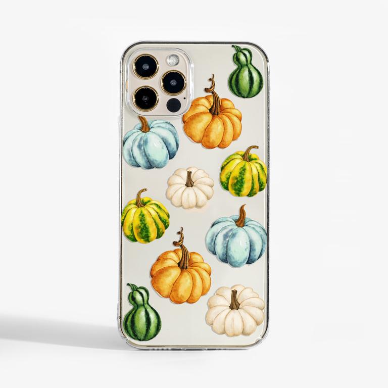Watercolour Pumpkins clear phone case - available at www.dessi-designs.com