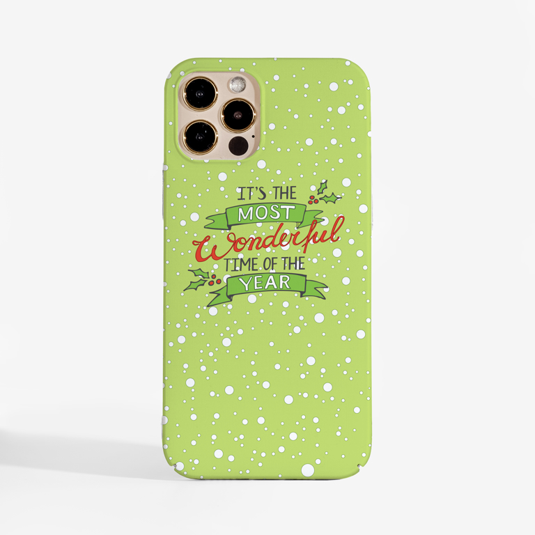 Most Wonderful Time of The Year Christmas  Phone Case Front | Available at Dessi-Designs.com