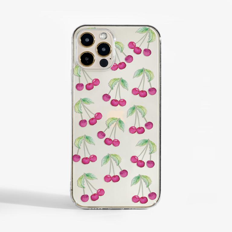 Cherries Slim Plastic Phone Case Front - www.dessi-designs.com