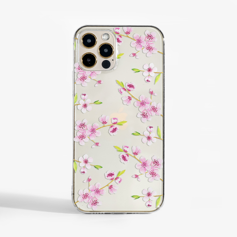 Cherry Blossom Clear Phone Case | Available at www.dessi-designs.com