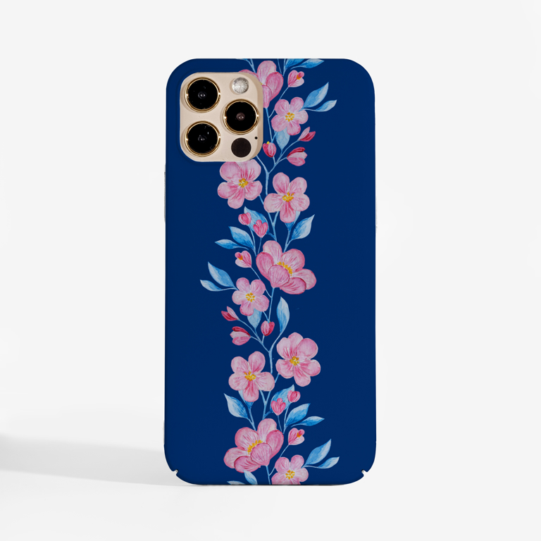 Blossoms in Pink and Blue Phone Case