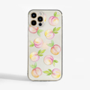 Peaches Clear Plastic Phone Case Front - www.dessi-designs.com
