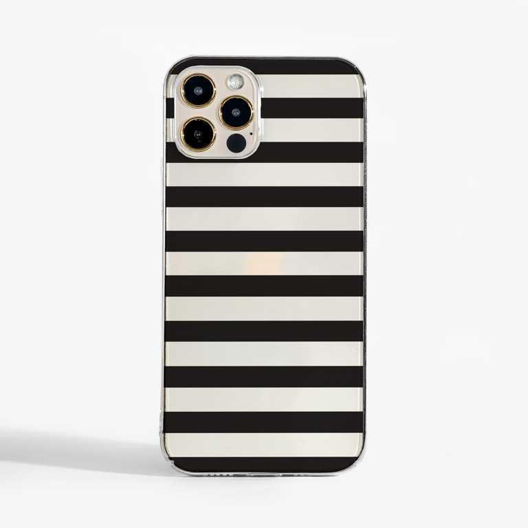 Black Stripes Clear Case Front  | Available at Dessi-Designs.com