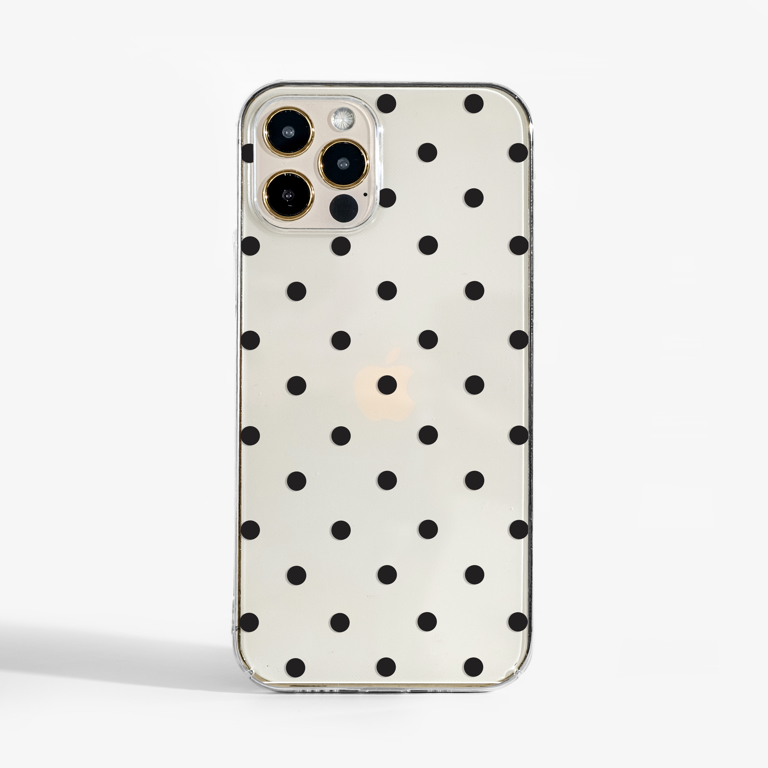 Clear Polka Dots Slimline Phone Case Front | Available at Dessi-Designs.com