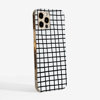 Black Cross Stripes Clear Slimline Phone Case Side | Available at Dessi-Designs.com