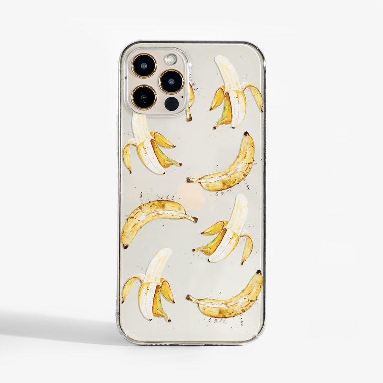 Banana Clear Phone Case Front | Available at Dessi-Designs.com