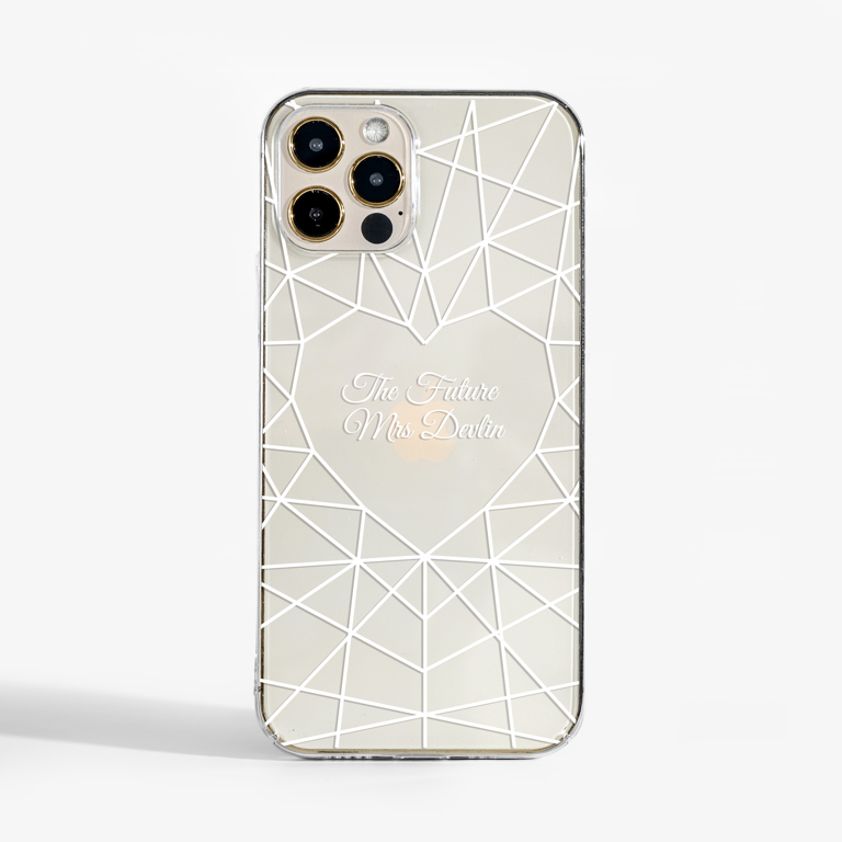 Bridal Heart Diamond Phone Case Front | Available at Dessi-Designs.com