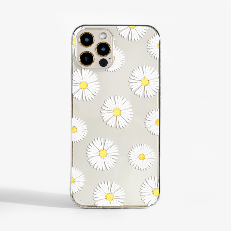 Daisy Flowers Transparent Phone Case | Available at www.dessi-designs.com