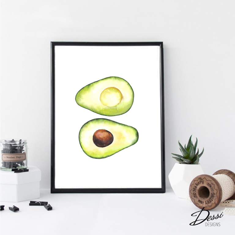 Avocado watercolour print