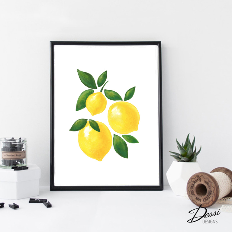 Lemons watercolour  wall print